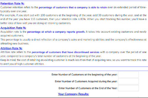 Customer Retention, Acquisition & Attrition Rate Calculator