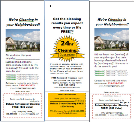 Examples Flyers Residential Cleaning http://www.myhousecleaningbiz.com/products/item294.cfm
