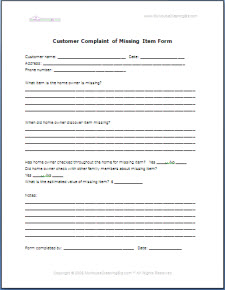 Customer Service Forms